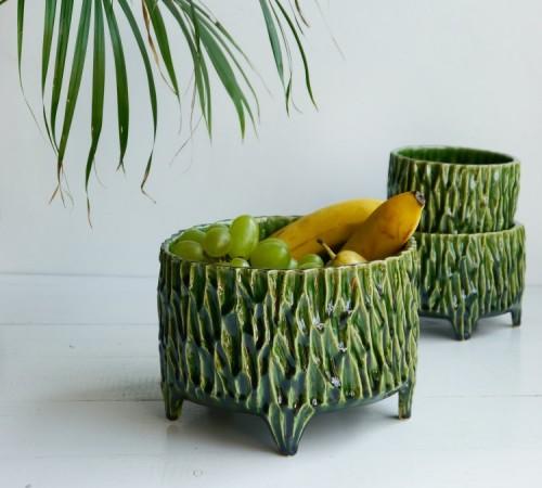 Zielona donica z nóżkami, misa na owoce 2