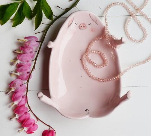 Świnka miseczka na biżuterię